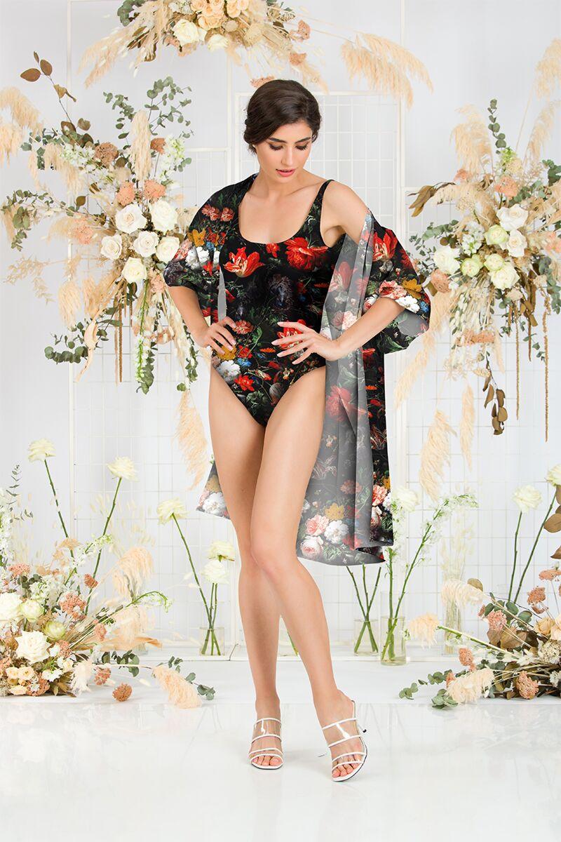 Costum de baie întreg cu blazer, negru cu model floral CMD1045