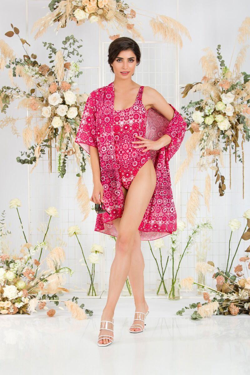 Costum de baie întreg cu blazer,alb rosu cu model floral CMD1048