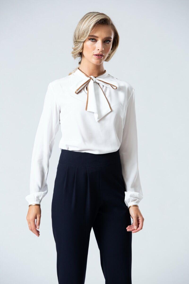 Bluza DAMES de craciun  eleganta alba cu esarfa