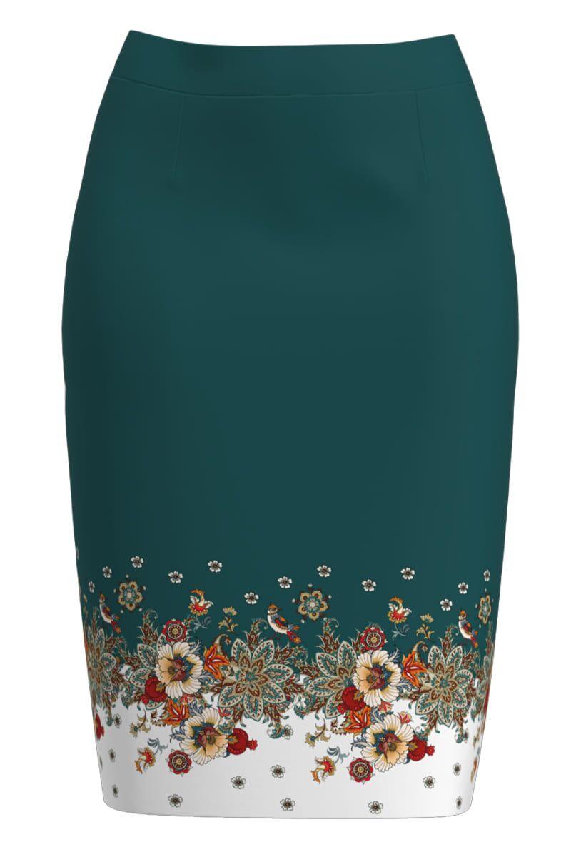Fusta conica verde cu imprimeu floral CMD1348