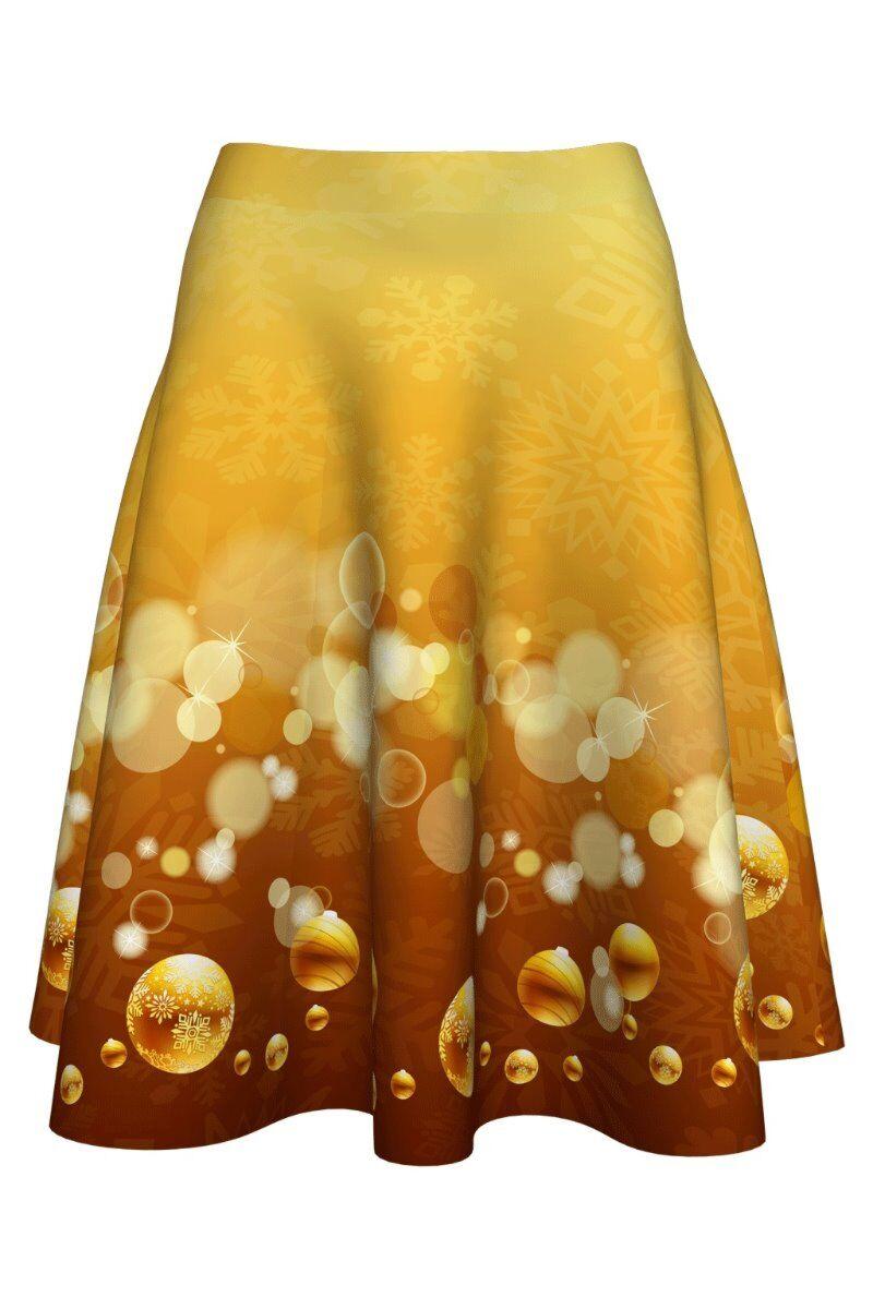 fusta dames clos aurie imprimata cu globuri pentru sarbatorile de iarna