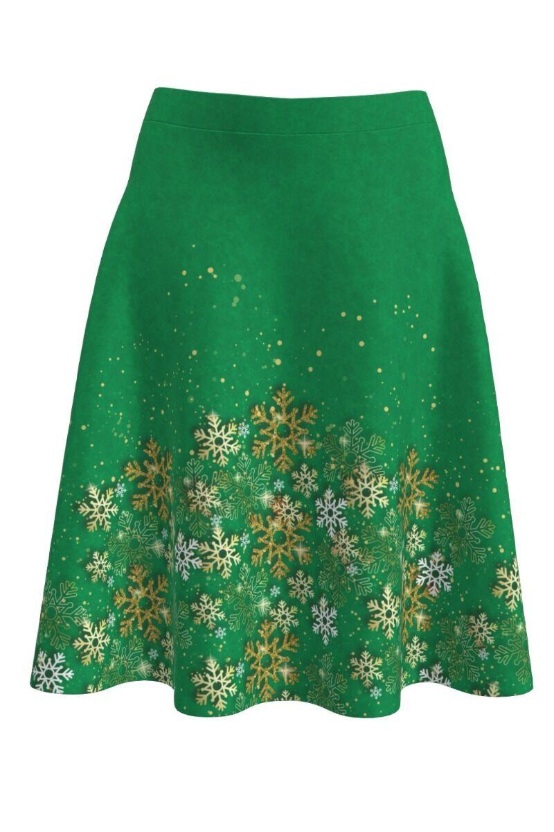 Fusta dames clos verde imprimata stele de Craciun