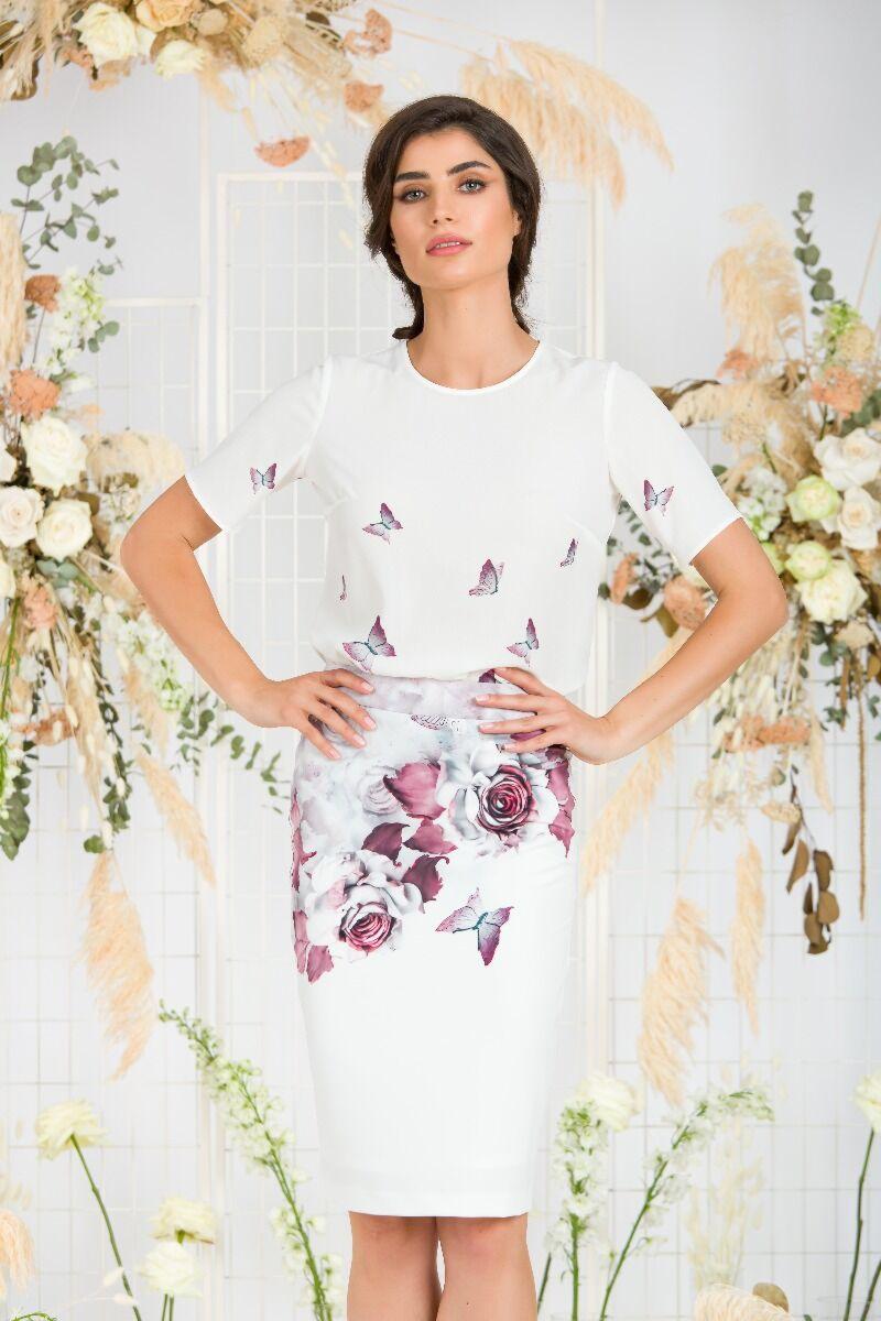 bluza DAMES alba de vara cu maneca scurta si imprimeu floral
