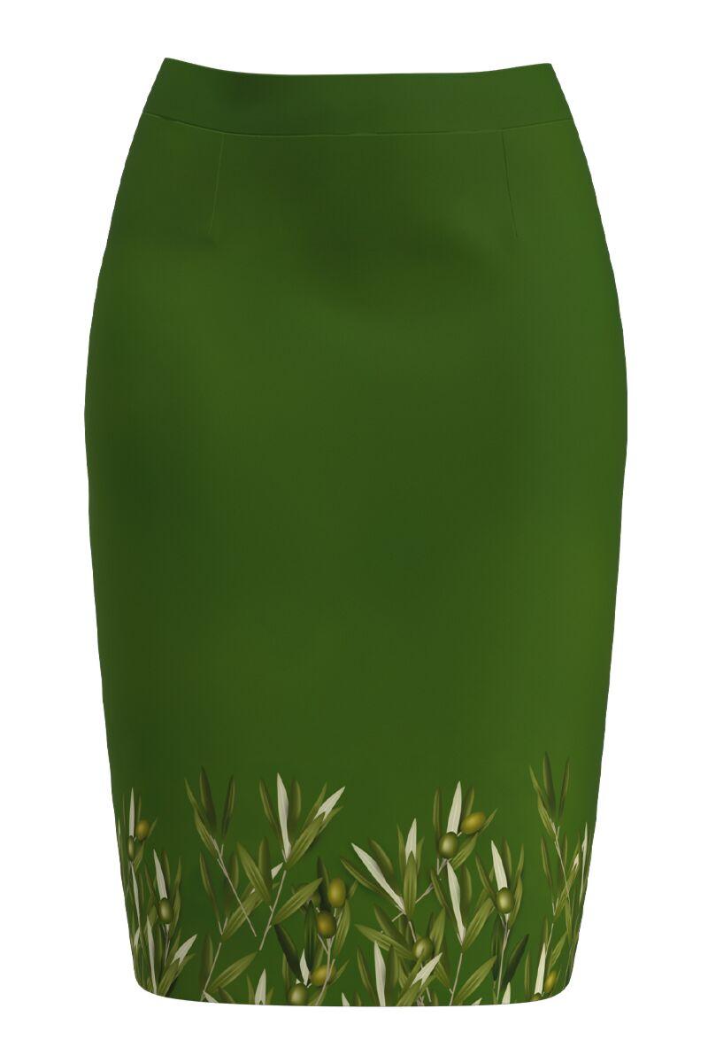 Fusta conica verde imprimata cu model ramuri de maslin CMD1177
