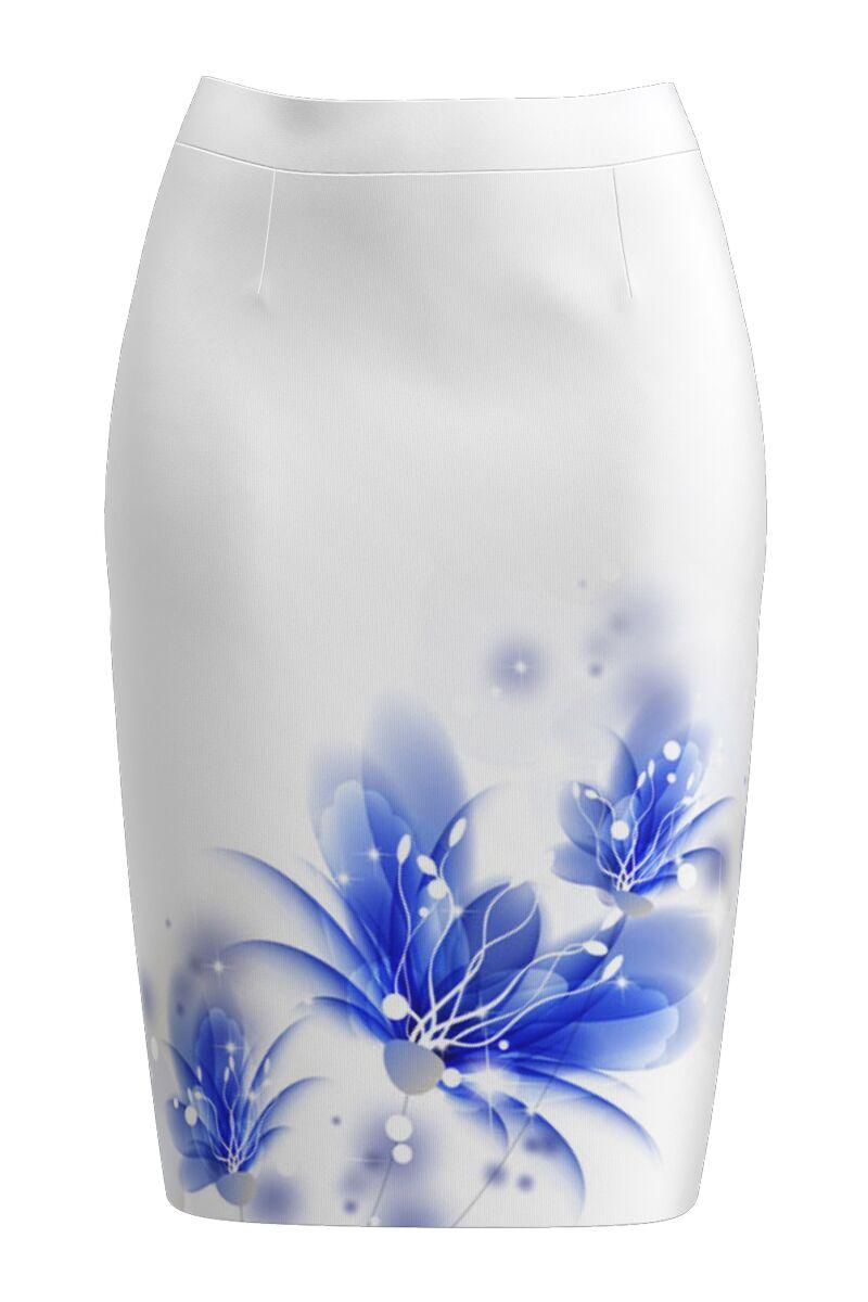 Fusta conica alba imprimata cu model Floral CMD1091