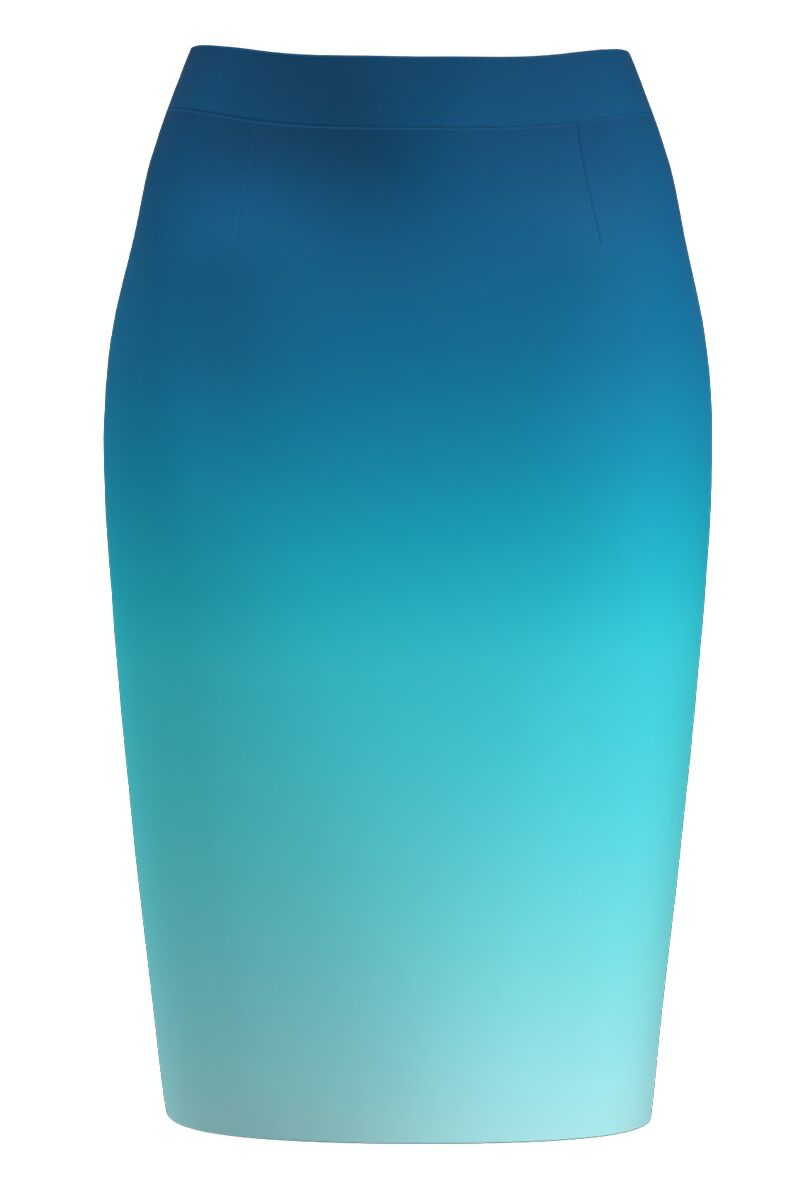 Fusta conica bleu imprimata in degrade CMD1319