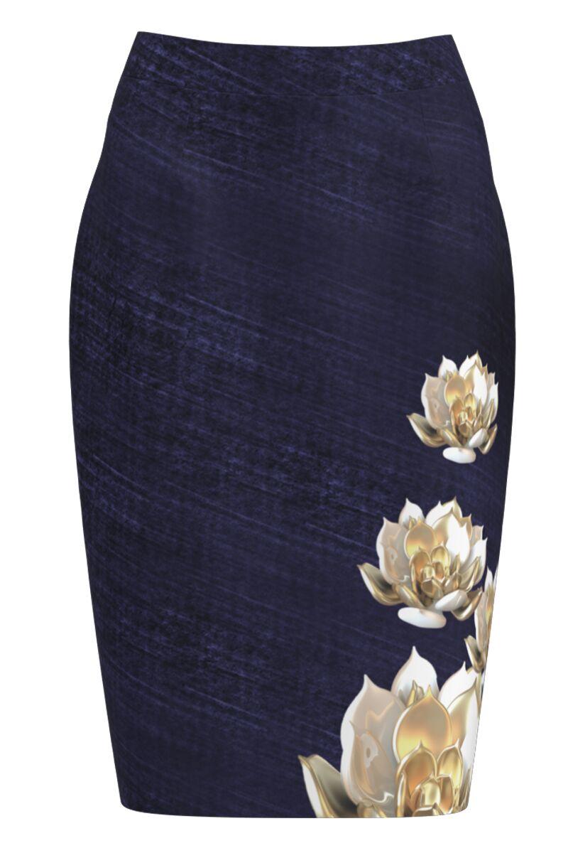 Fusta DAMES conica bleumarin imprimata cu model floral