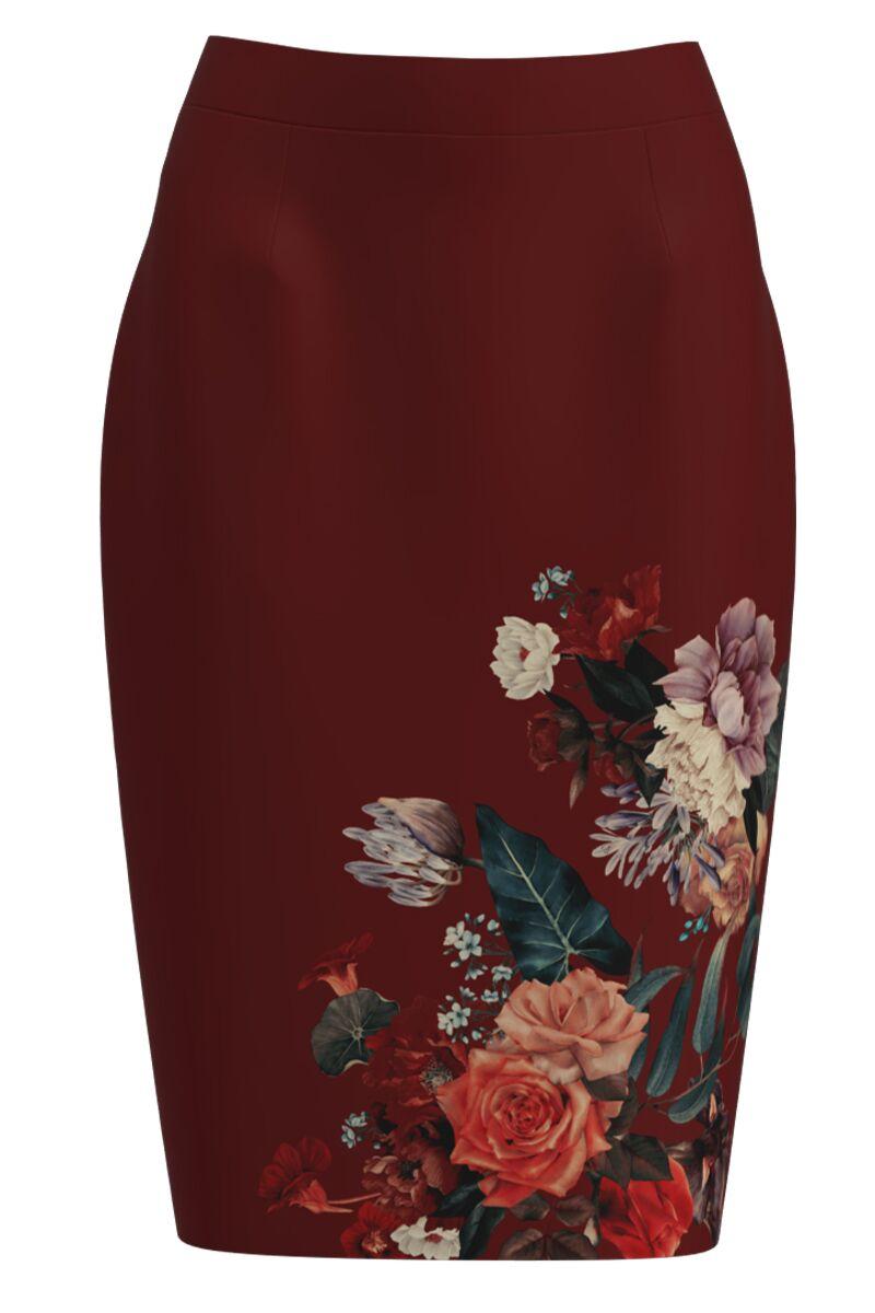 Fusta conica grena imprimata cu model floral CMD1153