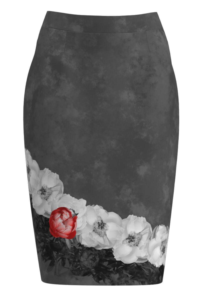 Fusta conica gri imprimata cu model floral CMD1123