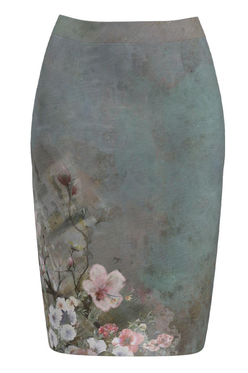 Fusta conica gri imprimata cu model floral CMD1141