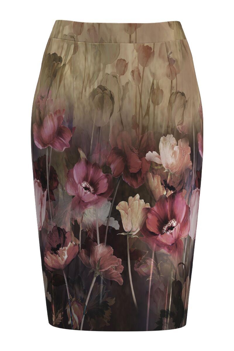 Fusta conica imprimata cu model floral CMD1080