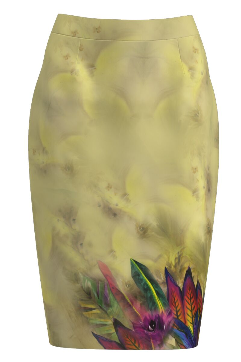 Fusta conica imprimata cu model floral multicolor CMD1137
