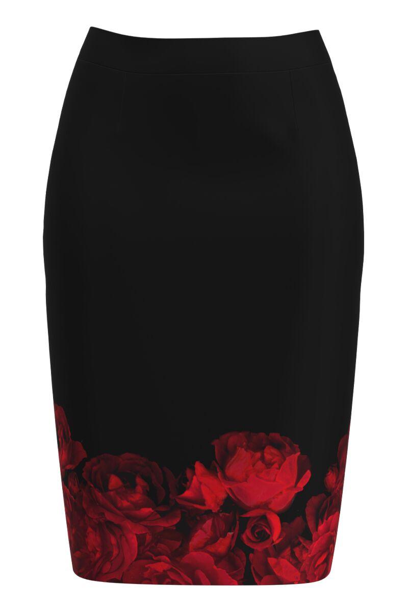 Fusta dames  conica imprimata cu model Trandafiri