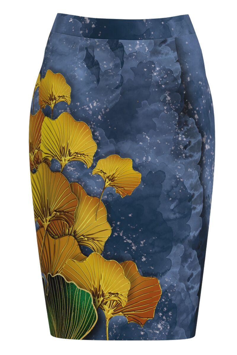 Fusta conica in nuante de albastru cu imprimeu floral CMD1129