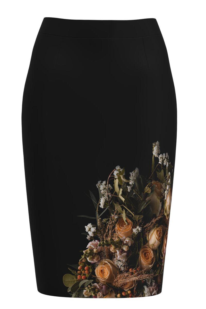 Fusta conica neagra cu imprimeu trandafiri CMD1233