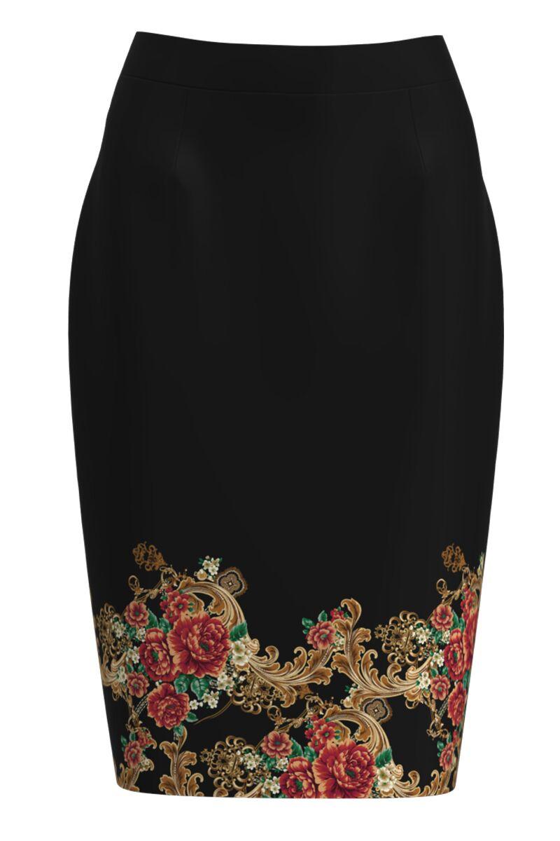 Fusta conica neagra imprimata cu model floral CMD1162
