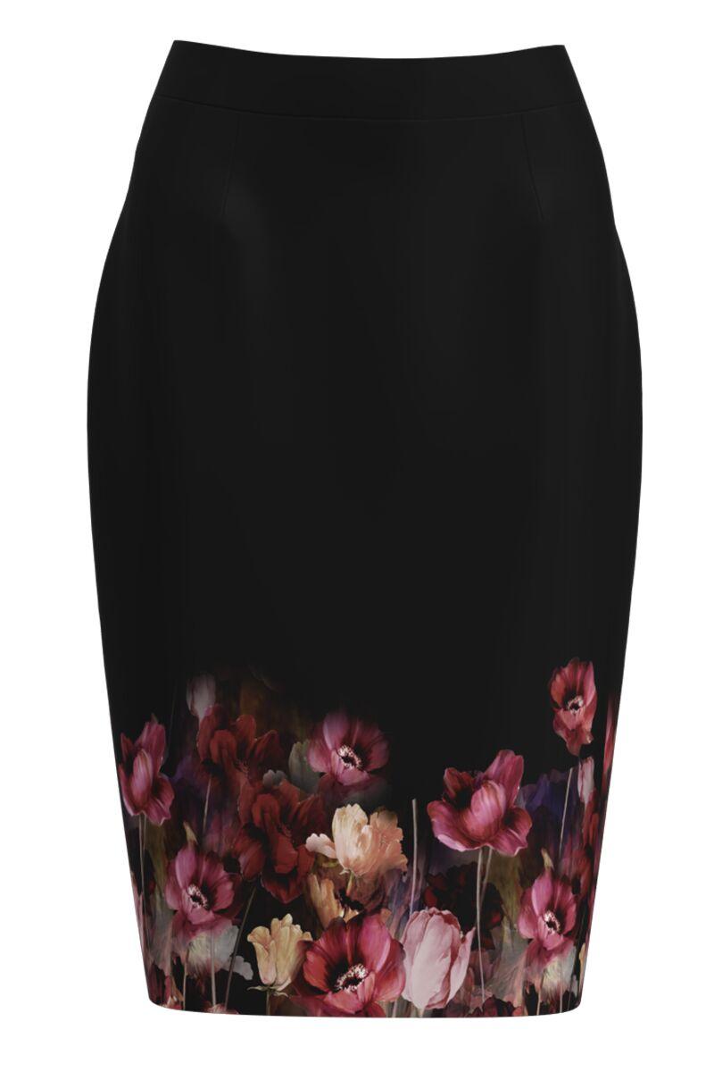 Fusta DAMES conica neagra imprimata cu model floral
