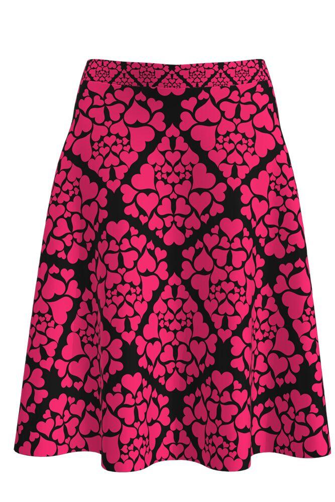 Fustă  DAMES neagră, clos, imprimată digital cu inimioare roz Valentine's Day