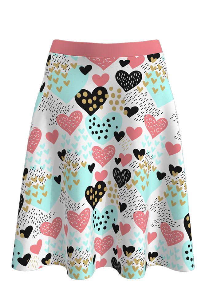 Fustă dames albă, romantică, cu inimioare vesel colorate imprimate digital