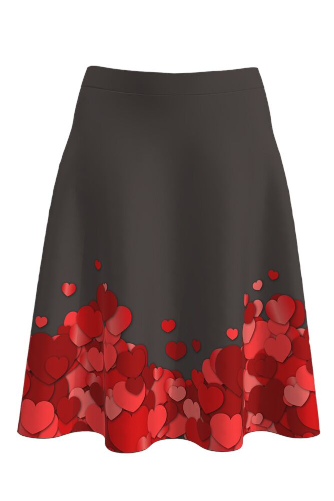 Fustă DAMES romantică, cu inimioare roşii imprimate digital Valentine's Day