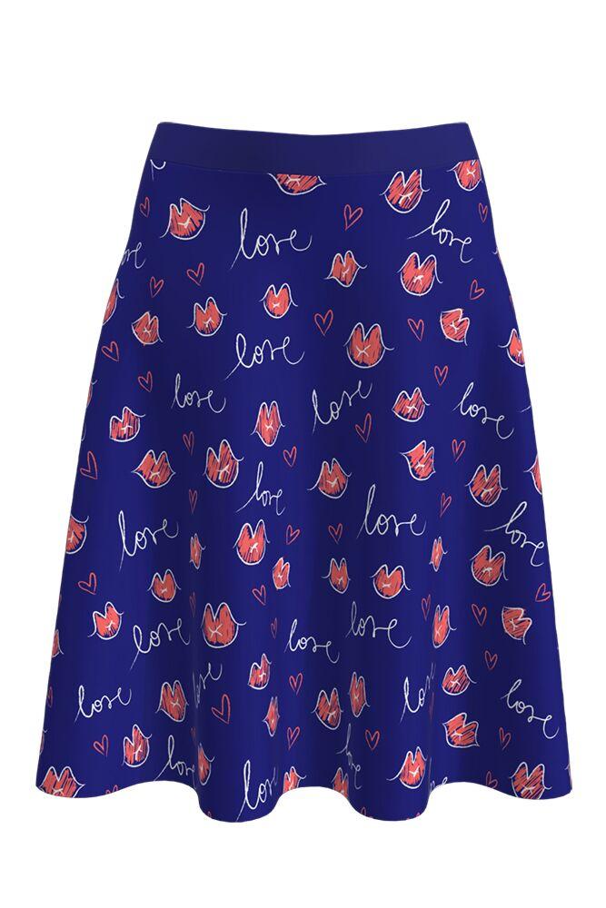 Fustă DAMES albastră, clos, imprimată digital cu model specific Zilei Îndrăgostiţilor