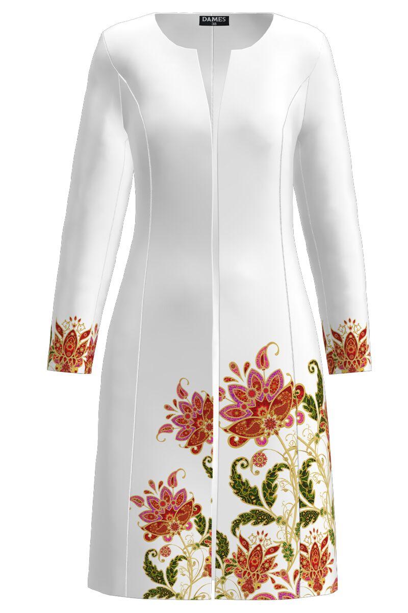 Jacheta de dama alba lunga imprimata cu model Floral CMD1421