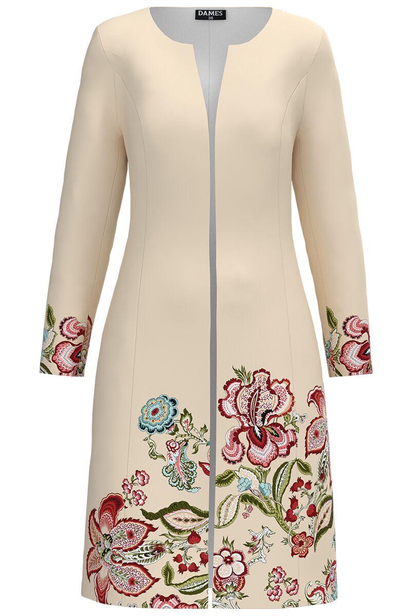 Jacheta DAMES  crem  lunga imprimata cu model floral