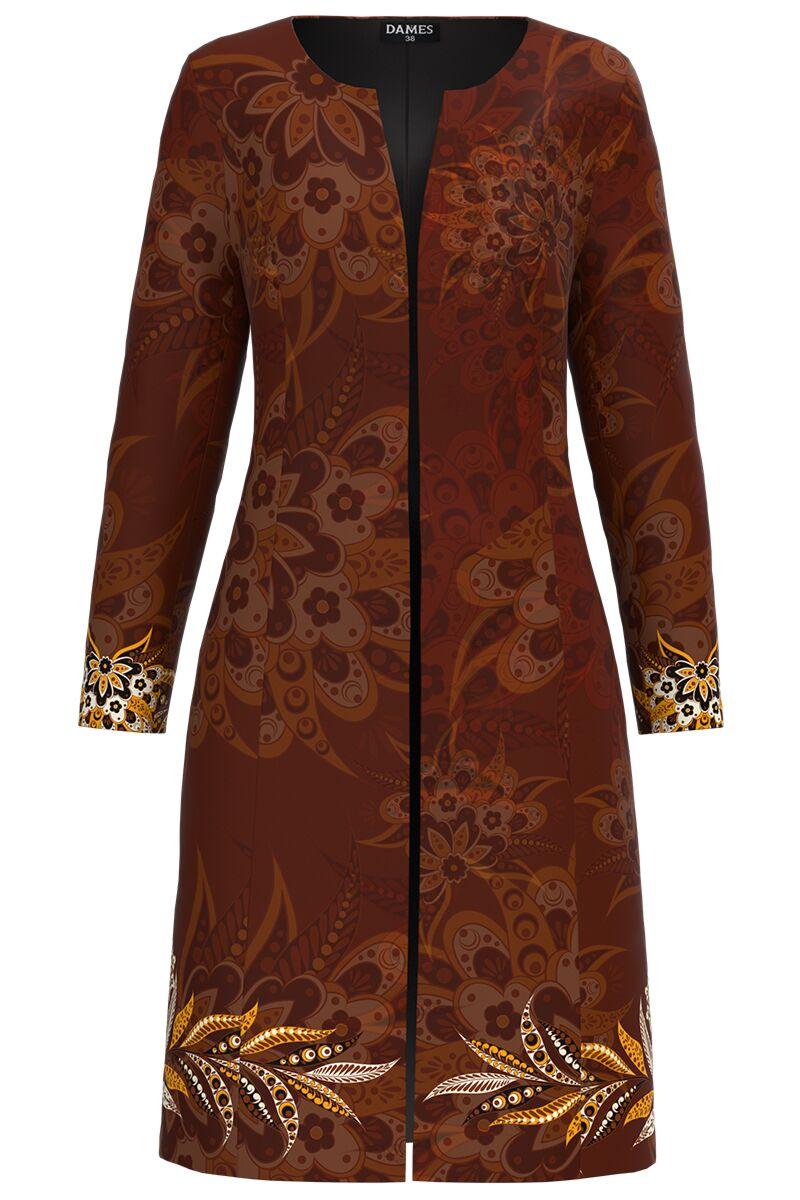 Jacheta DAMES  de dama maro lunga imprimata cu model floral