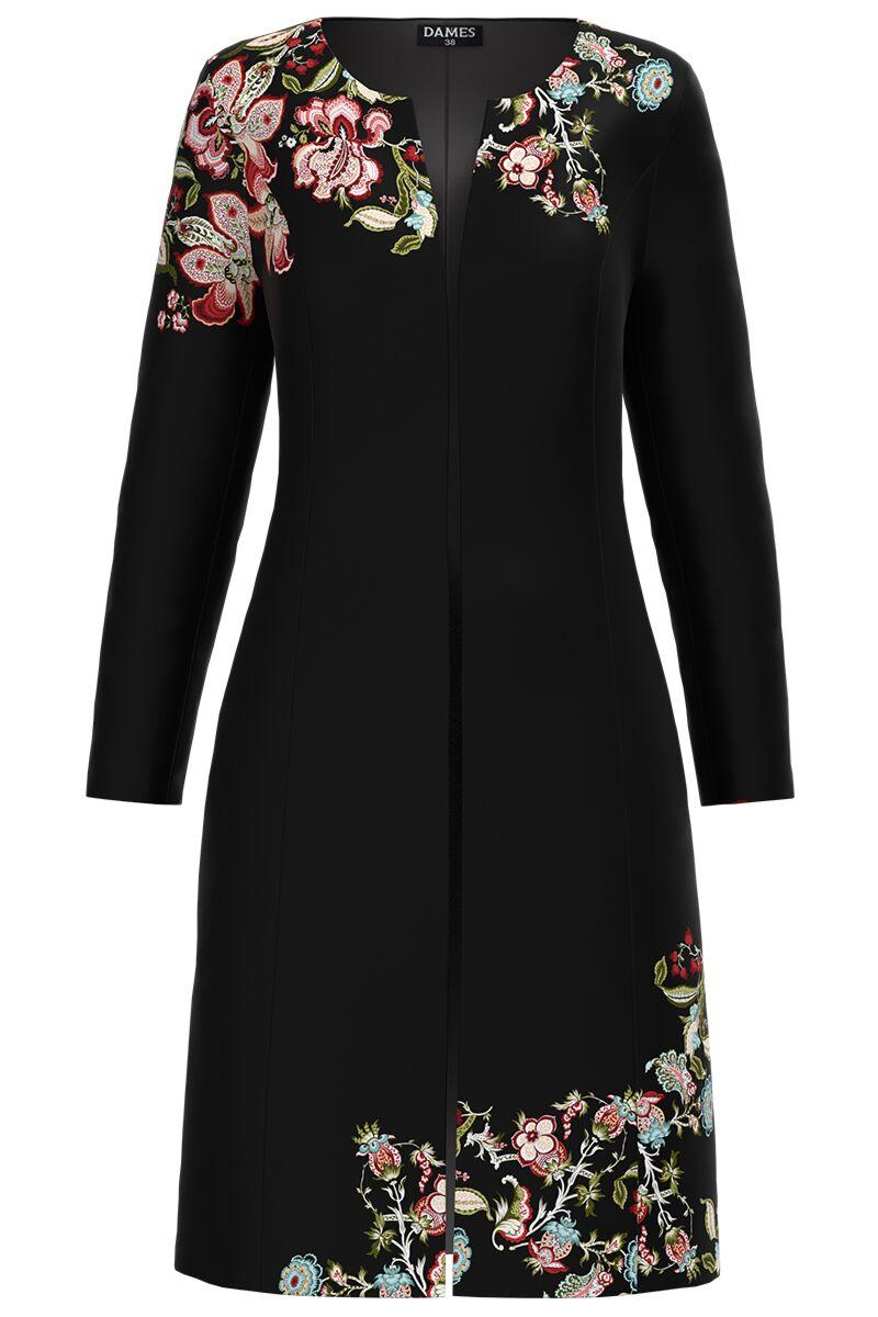 Jacheta DAMES de dama neagra lunga imprimata cu model floral