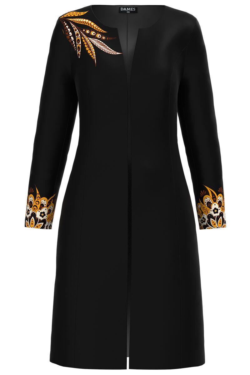 Jacheta DAMES  neagra lunga imprimata cu model floral