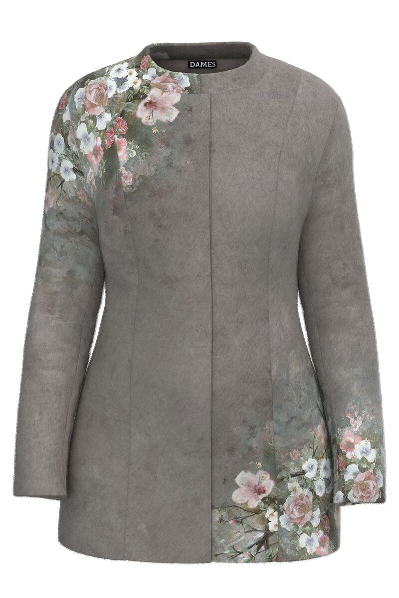 Palton dama gri, elegant si calduros imprimat Floral CMD1468
