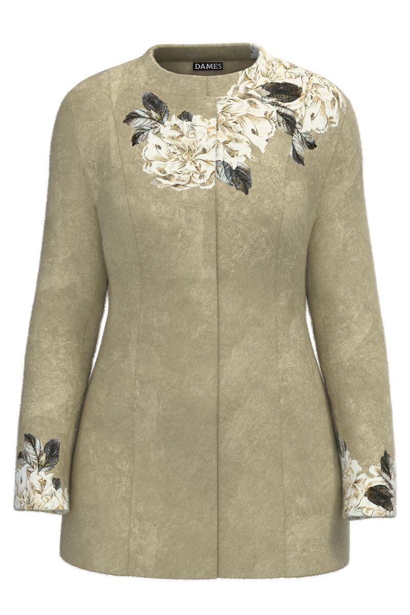 Palton dama gri, elegant si calduros imprimat Floral CMD1461
