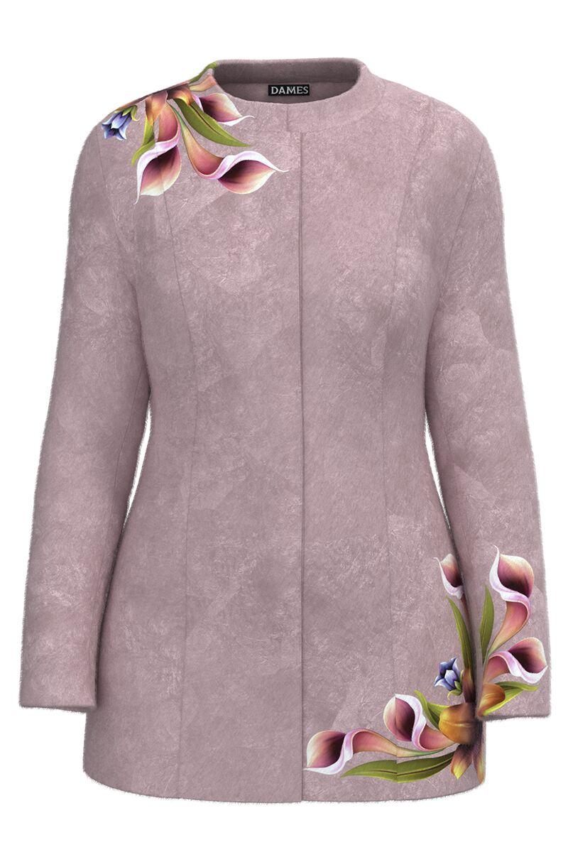 Palton dama lila, elegant si calduros imprimat Floral CMD1469