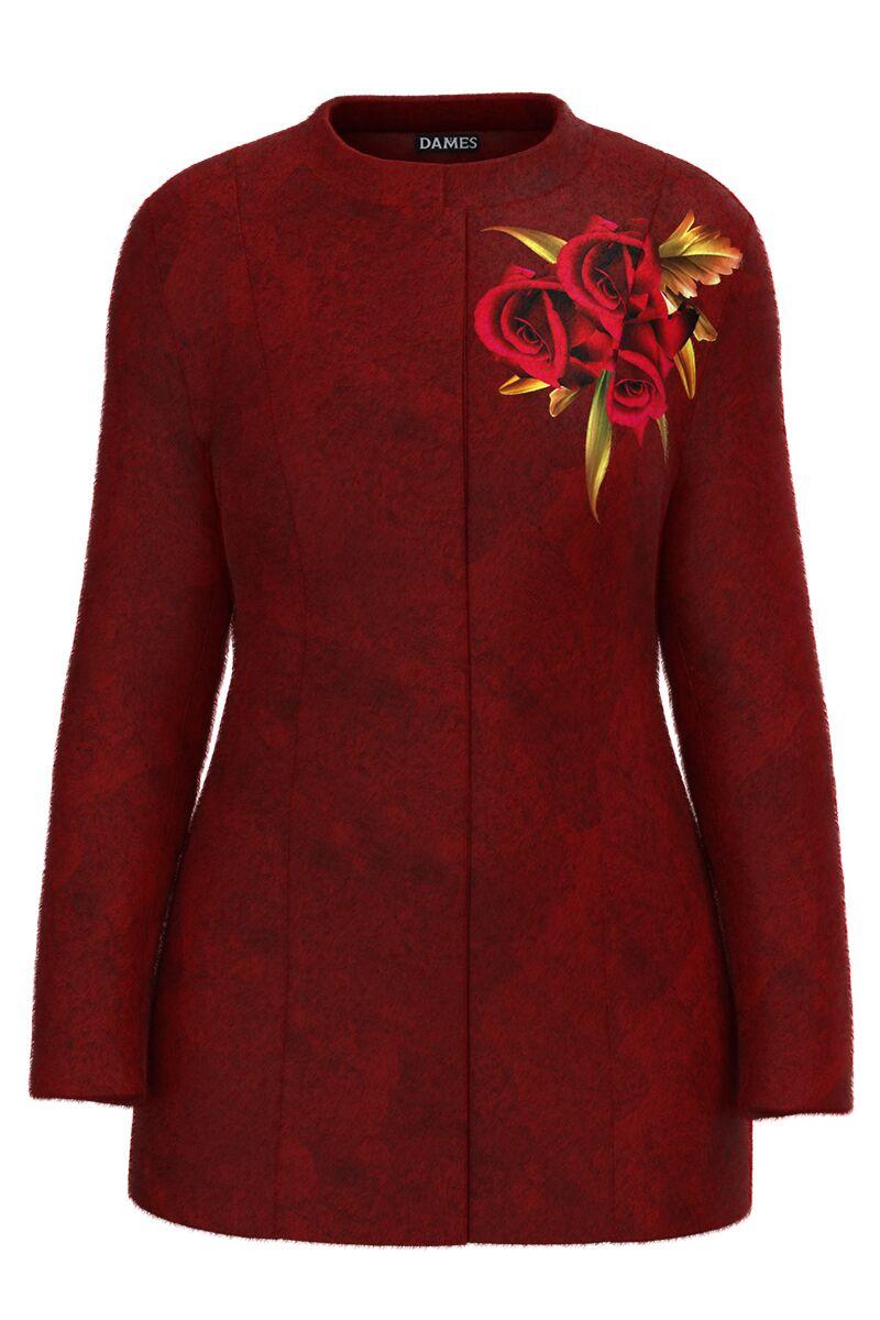 Palton DAMES  rosu- grena ,elegant si calduros imprimat Trandafiri