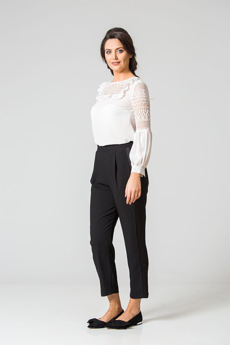pantaloni DAMES Black Friday negri pe bata de elastic cu buzunare si vipusca satinata