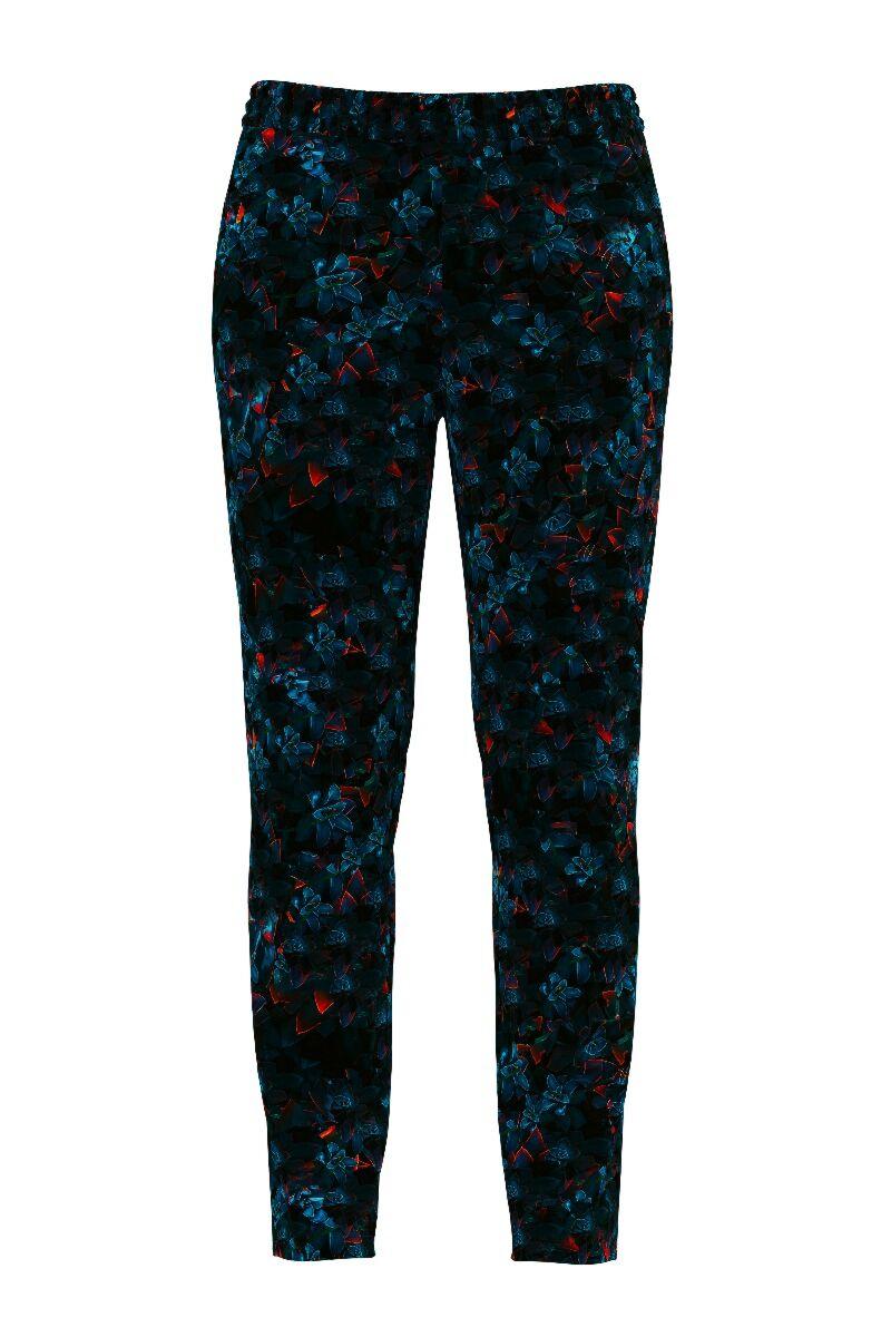 pantaloni DAMES din catifea, bleumarin cu imprimeu floral si buzunare