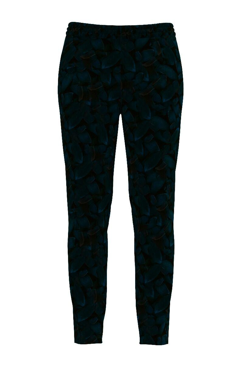 pantaloni DAMES din catifea, bleumarin cu imprimeu texturat degrade