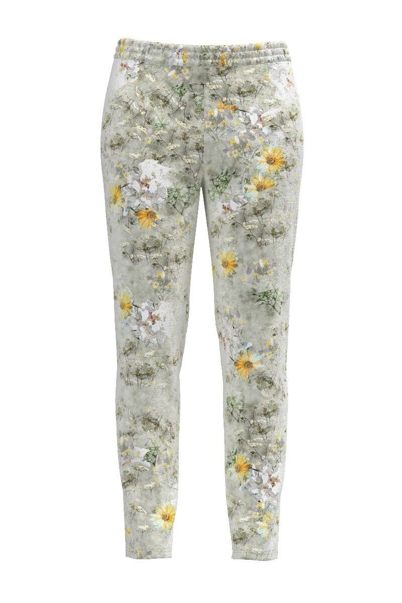 Pantaloni  DAMES cu print floral din catifea cu buzunare