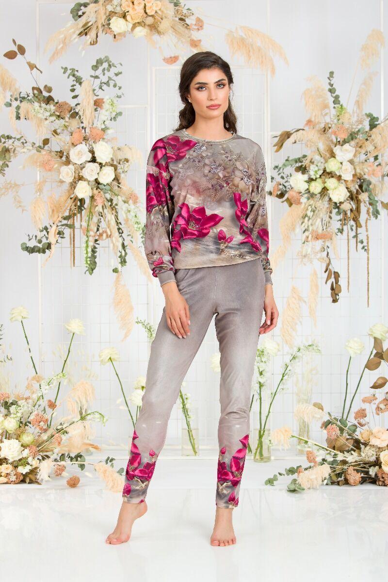 pantaloni DAMES bej din catifea cu imprimeu floral