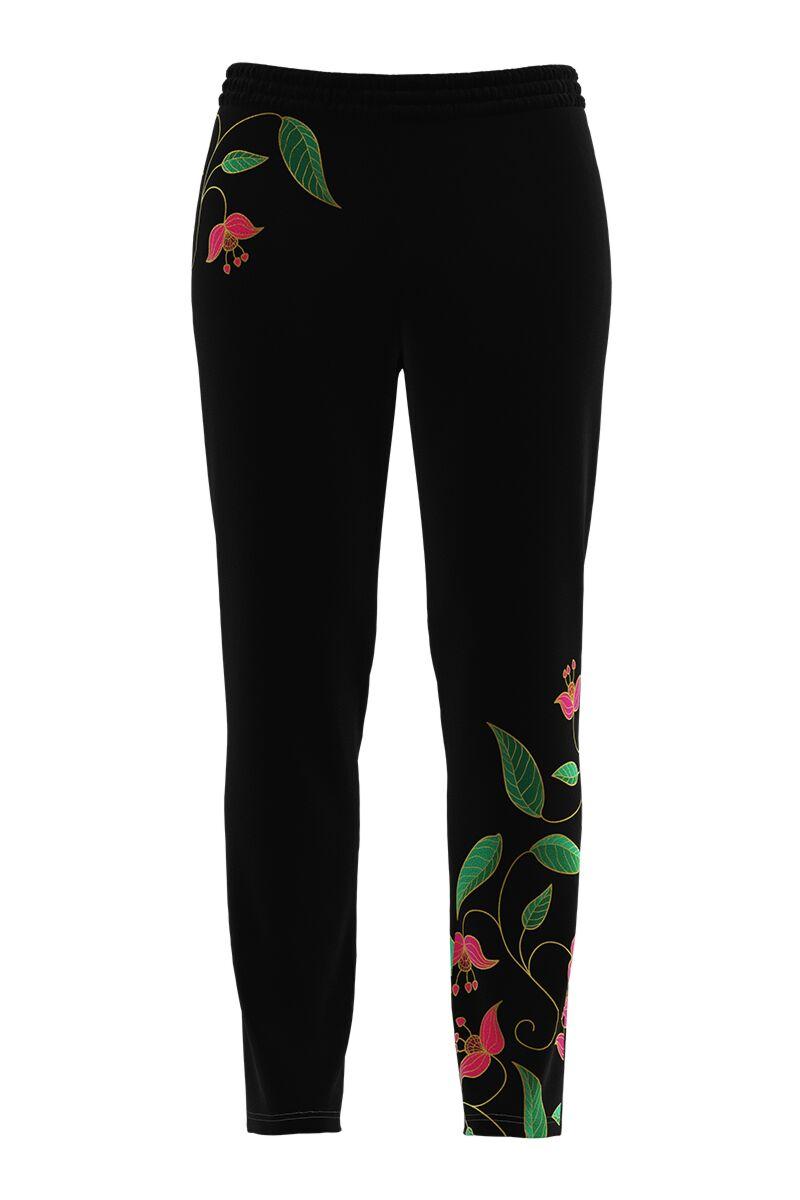 Pantaloni negri cu print floral din catifea cu buzunare CMD856
