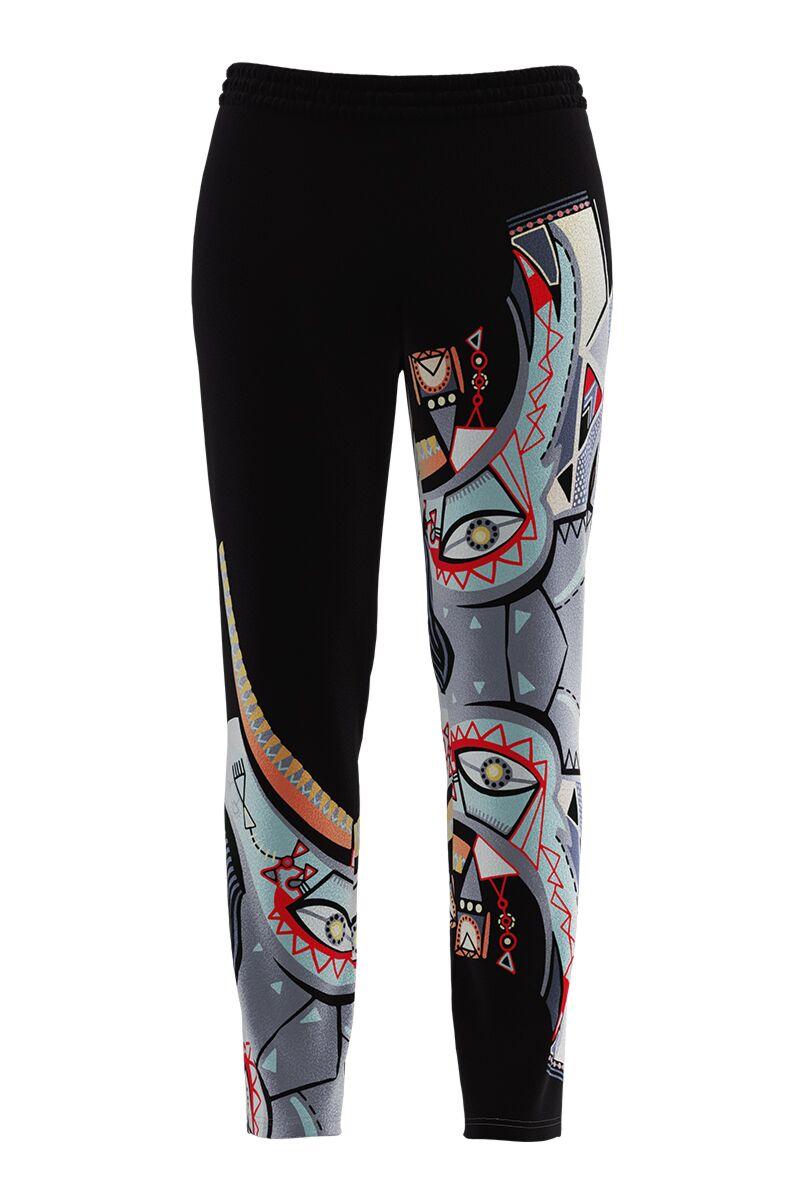 Pantaloni negri cu imprimeu multicolor din catifea cu buzunare CMD690