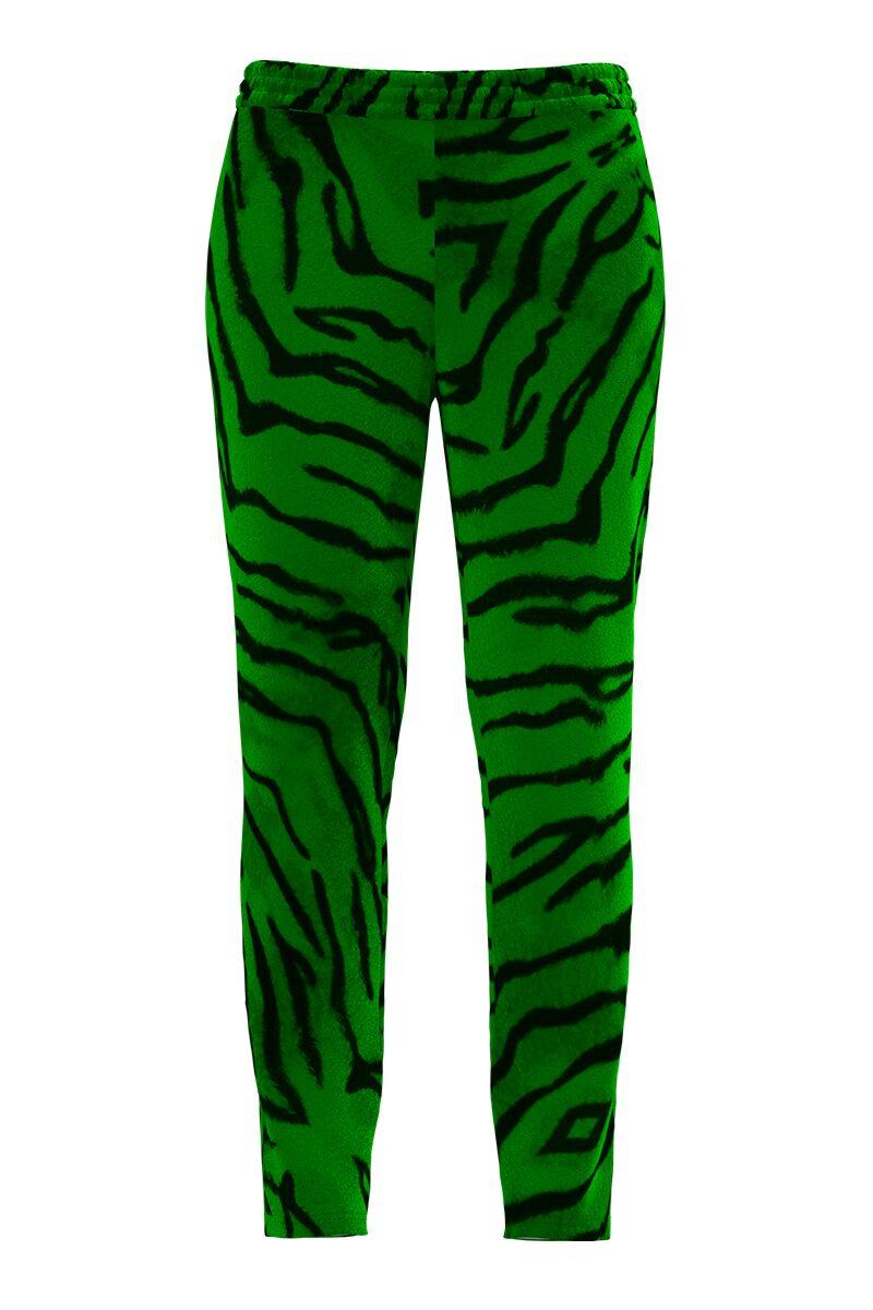 Pantaloni verzi cu imprimeu animal print din catifea cu buzunare CMD1020