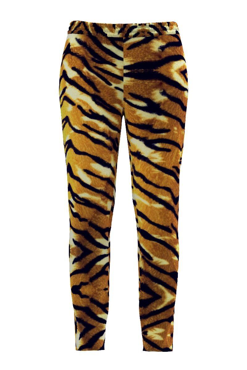 pantaloni DAMES din catifea ,cu animal print si buzunare