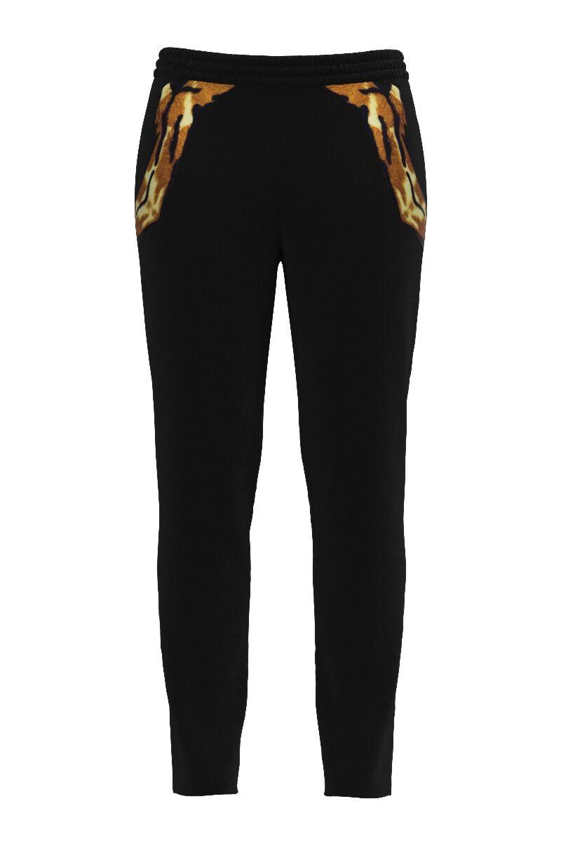 pantalonii DAMES din catifea ,negri cu animal print si buzunare