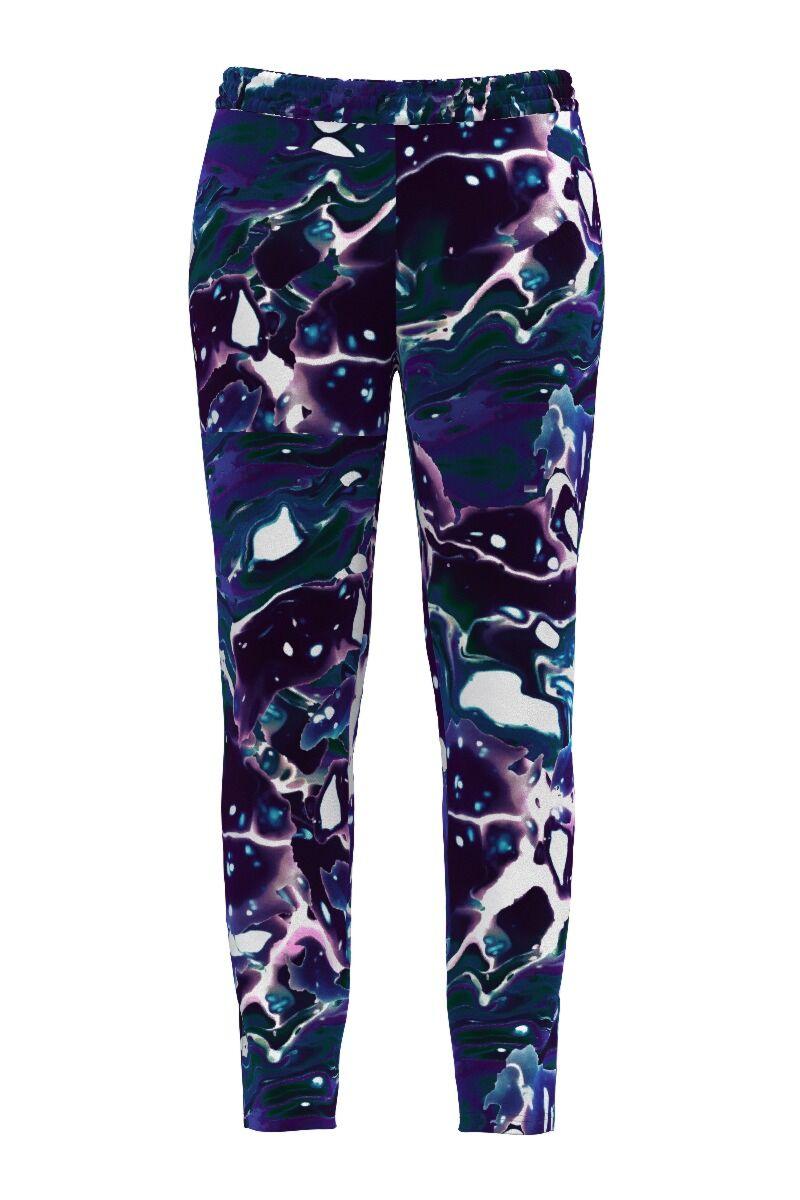 pantaloni DAMES din catifea cu imprimeu multicolor