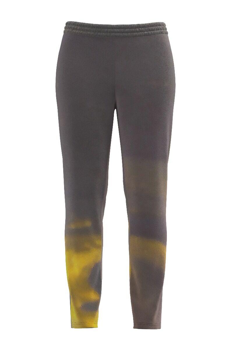 pantaloni DAMES din catifea, gri cu imprimeu abstractcu buzunare