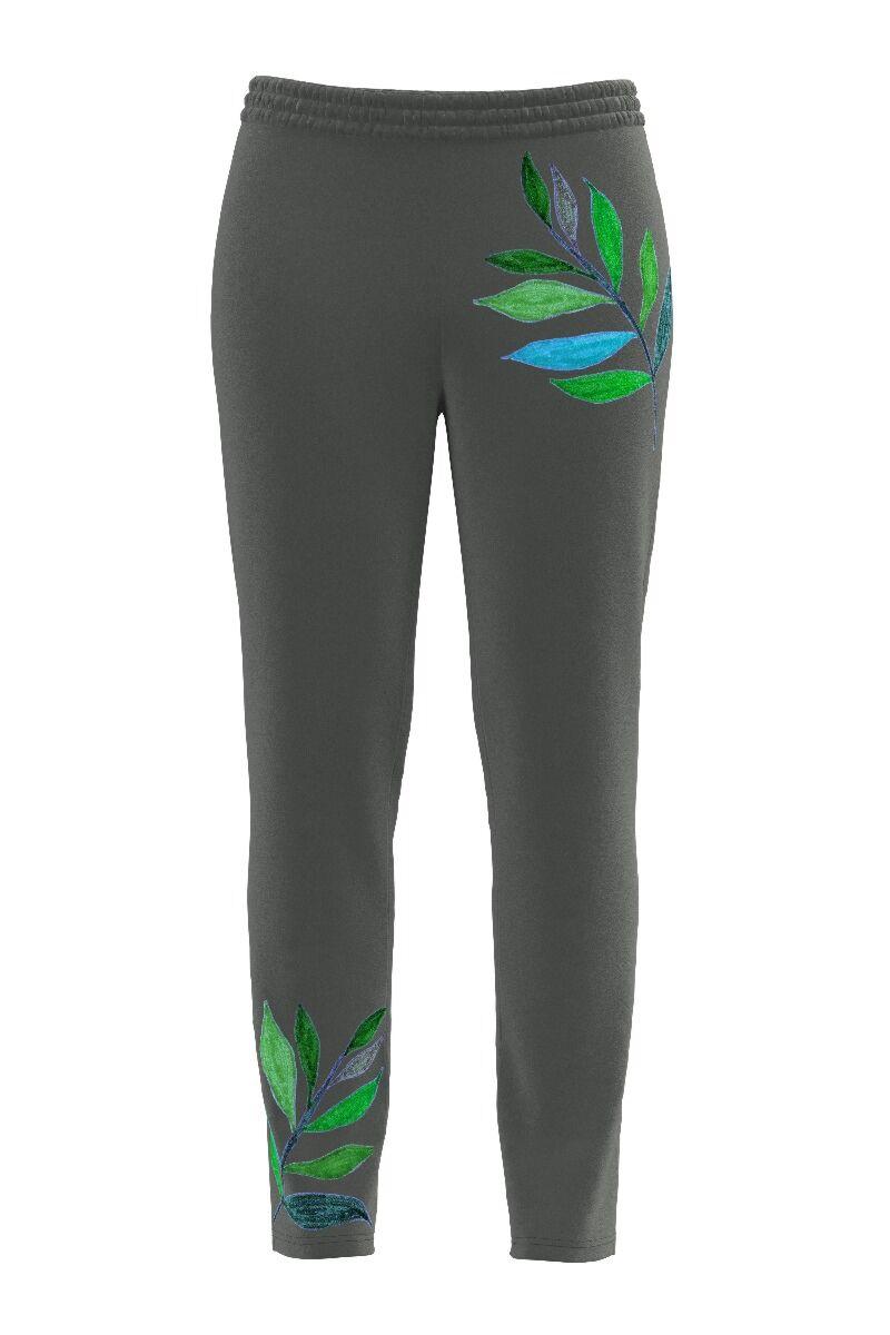 pantalon DAMES de treining gri cu imprimeu frunze