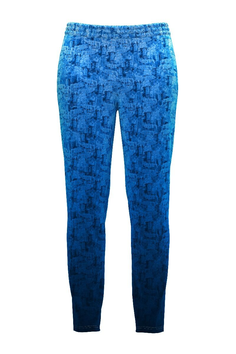 Pantaloni DAMES albastri din catifea cu buzunare