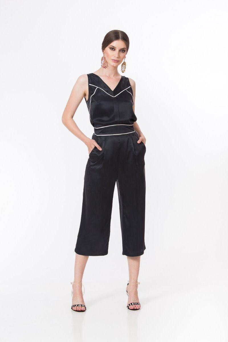 Pantaloni casual PREMIUM tip culotte din matase DP032