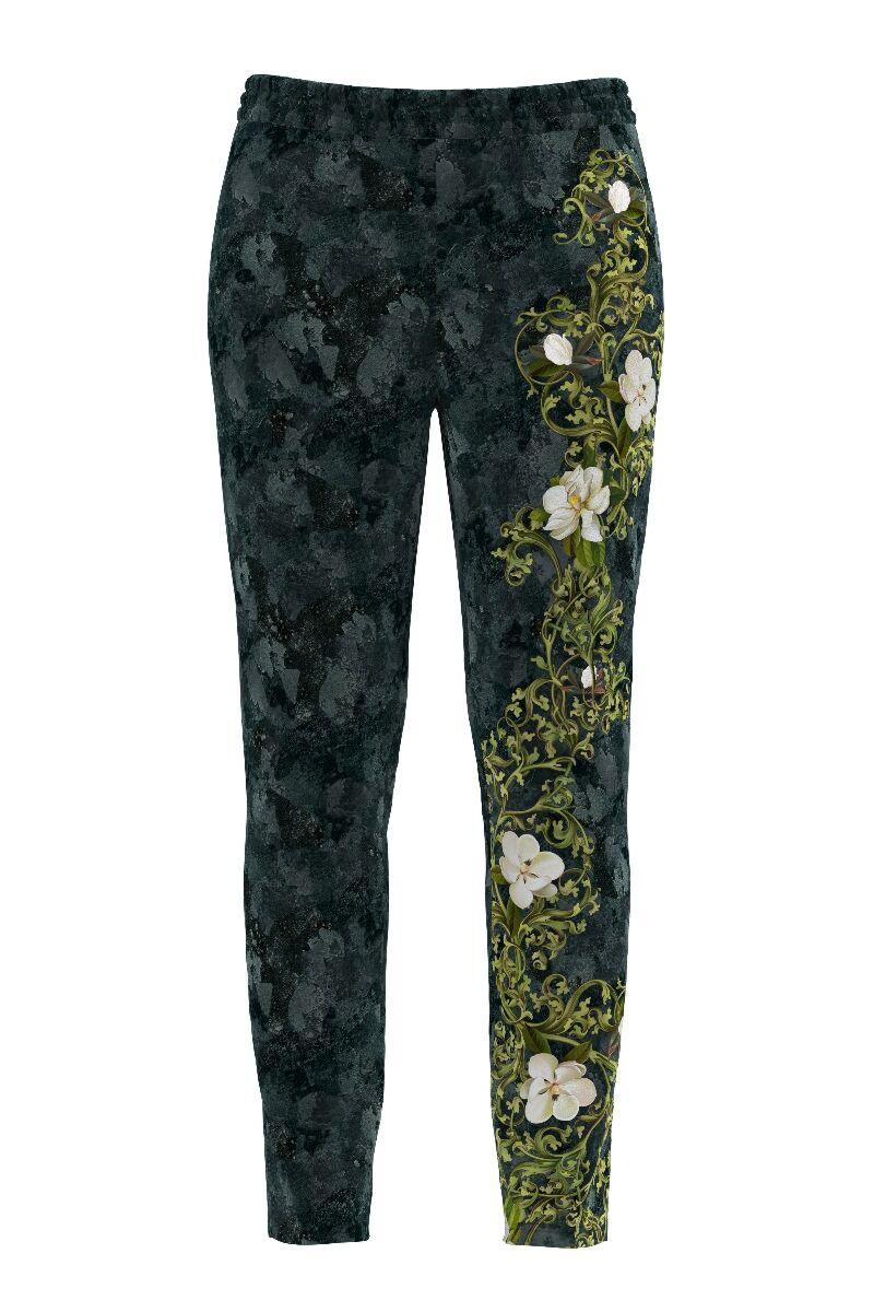 pantalonii DAMES din catifea ,cu print floral sibuzunare